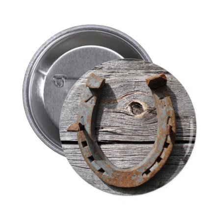 Good Luck Horseshoe Badge Name Tag Button