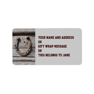 Good Luck Horseshoe Name Gift Tag Bookplate at Zazzle