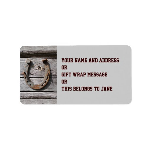 Good Luck Horseshoe Name Gift Tag Bookplate Custom Address Labels