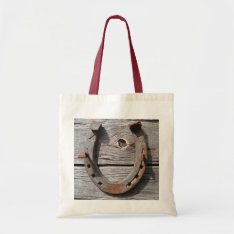 Good Luck Horseshoe On Fence Crafts Shopping Bag at Zazzle