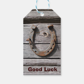 Good Luck Horseshoe on Old Wood Gift Tag