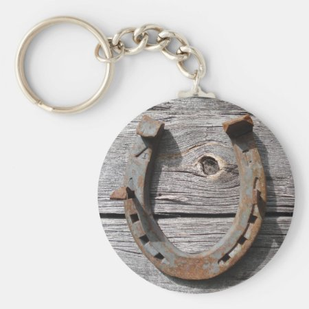 Good Luck Horseshoe On Wooden Fence Keyring
