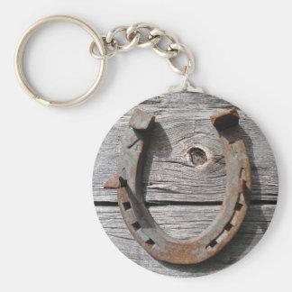 Good Luck Horseshoe on Wooden Fence Keyring Keychain