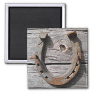 Good Luck Horseshoe On Wooden Fence Magnet at Zazzle