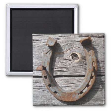Good Luck Horseshoe On Wooden Fence Magnet