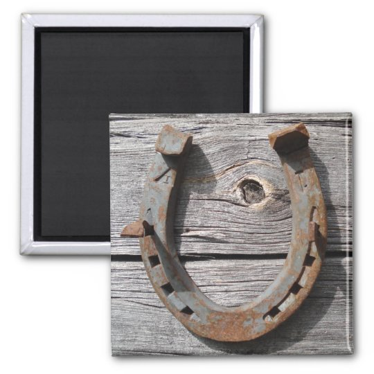 Good Luck Horseshoe on Wooden Fence Magnet