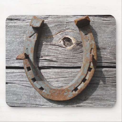 Good Luck Horseshoe on Wooden Fence Mousepad