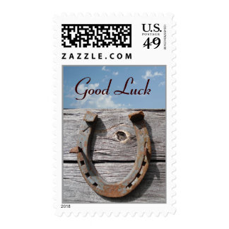 Good Luck Horseshoe on Wooden Fence Stamp