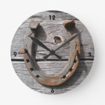 Good Luck Horseshoe on Wooden Fence Wall Clock at Zazzle