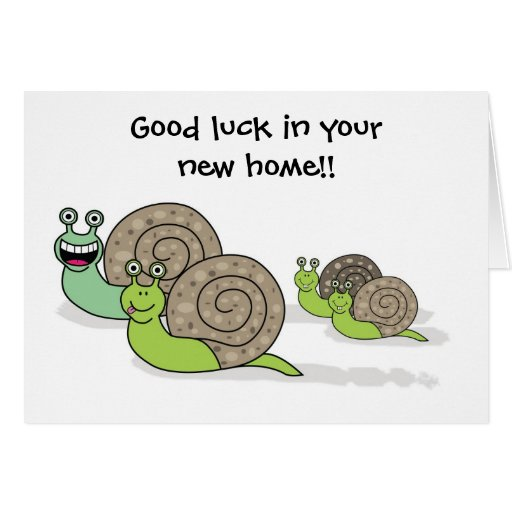 Good Luck In Your New Home House Snails Greeting Card