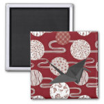 Good Luck Japanese Black Origami Swan 2 Inch Square Magnet