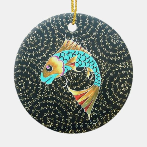 Good Luck Koi Fish Symbol of Fortune Double-Sided Ceramic Round Christmas Ornament