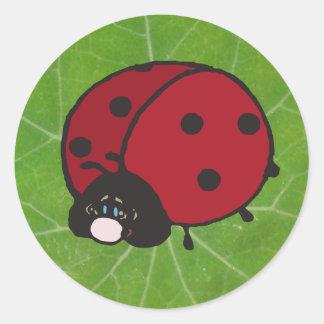 good luck lady bug classic round sticker