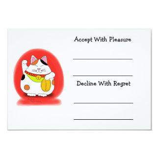 Good Luck Maneki Neko 3.5x5 Paper Invitation Card