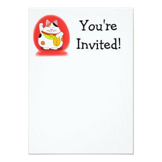 Good Luck Maneki Neko 5x7 Paper Invitation Card