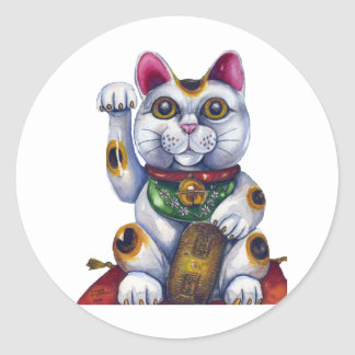 Good Luck Maneki Neko Classic Round Sticker