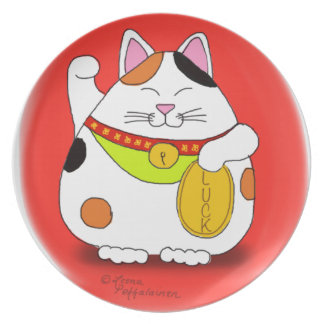 Good Luck Maneki Neko Dinner Plate