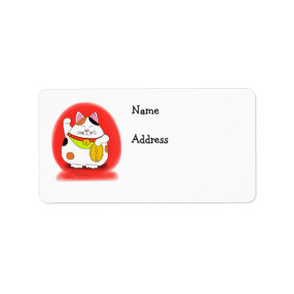Good Luck Maneki Neko Address Label