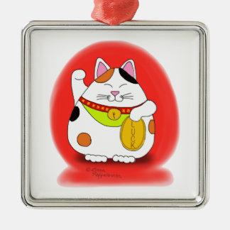 Good Luck Maneki Neko Metal Ornament