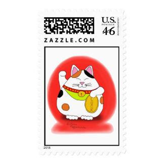 Good Luck Maneki Neko Postage Stamps