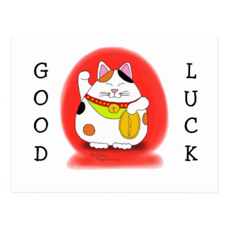 Good Luck Maneki Neko Postcard