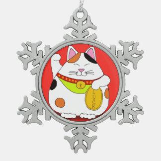 Good Luck Maneki Neko Snowflake Pewter Christmas Ornament