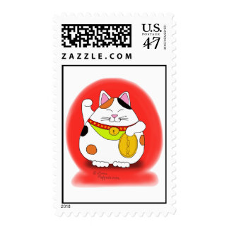 Good Luck Maneki Neko Stamp