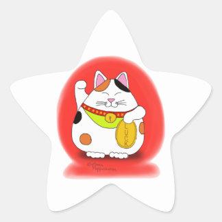 Good Luck Maneki Neko Star Sticker