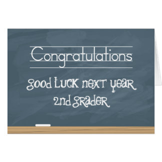 Good Luck Next Year Chalkboard with smudge marks Greeting Card