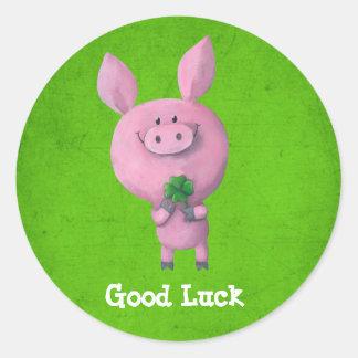 Good Luck Pig Classic Round Sticker