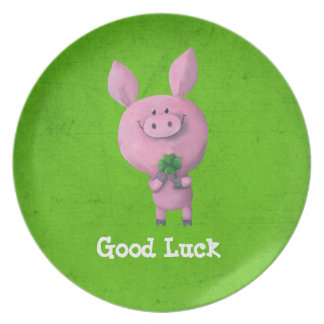 Good Luck Pig Party Plate