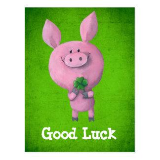 Good Luck Pig Post Card