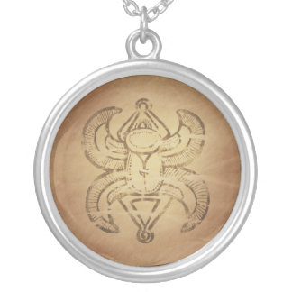 Good Luck Scarab Assyrian Magic Charms Round Pendant Necklace
