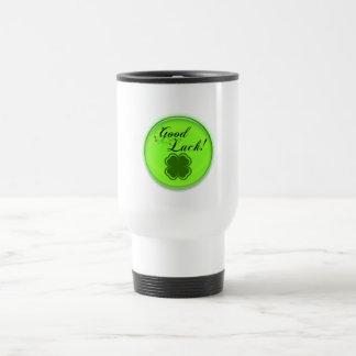 Good Luck Shamrock 4 leaf clover travel mug