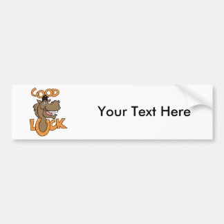 Good Luck ~ Smiling Horse Shoe Word Play Car Bumper Sticker