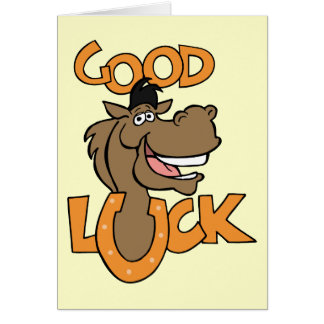 Good Luck ~ Smiling Horse Shoe Word Play Card
