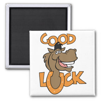 Good Luck ~ Smiling Horse Shoe Word Play Magnet