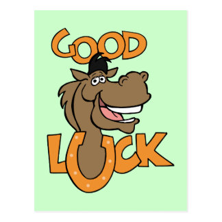 Good Luck ~ Smiling Horse Shoe Word Play Postcard