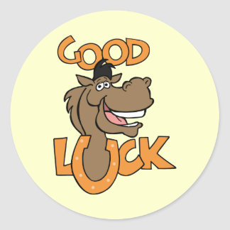 Good Luck ~ Smiling Horse Shoe Word Play Sticker