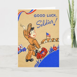 Good Luck Soldier Vintage Card card