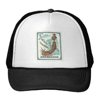 Good Luck Symbols Vintage Japanese Silk Label Hats