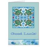 Good Luck Turtles Ocean Sea Creatures Fish Art Card