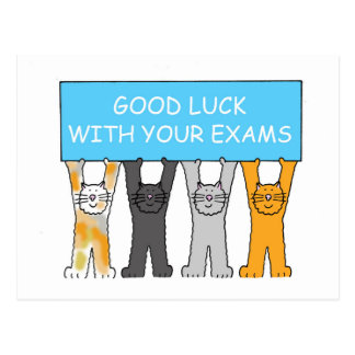 Good luck with your exams, cartoon cats. postcard