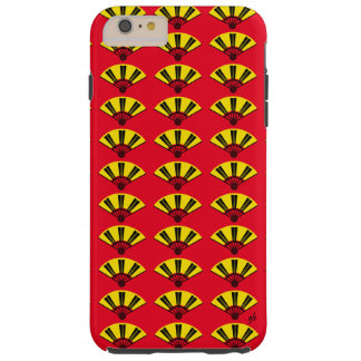 Good Luck Yellow and Black, Asian Fan Design Tough iPhone 6 Plus Case