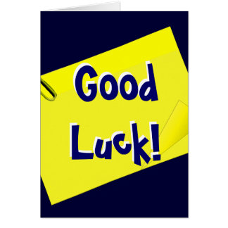 Good Luck yellow post-it Card