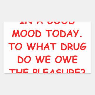 good mood rectangular sticker