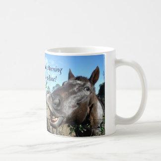 Good mornig Sunshine Funny Face brown horse Coffee Mug