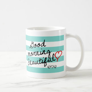 Good Morning Beautiful! Blue Stripes pattern Coffee Mug