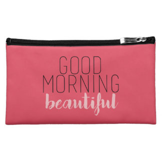 Good Morning Beautiful Cosmetic Bag - Coral