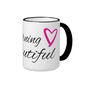 Good morning beautiful with a heart ringer mug